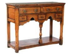 Classic hall table with 5 drawers and bottom shelf, after antique model, 72 cm high, 92 cm wide,
