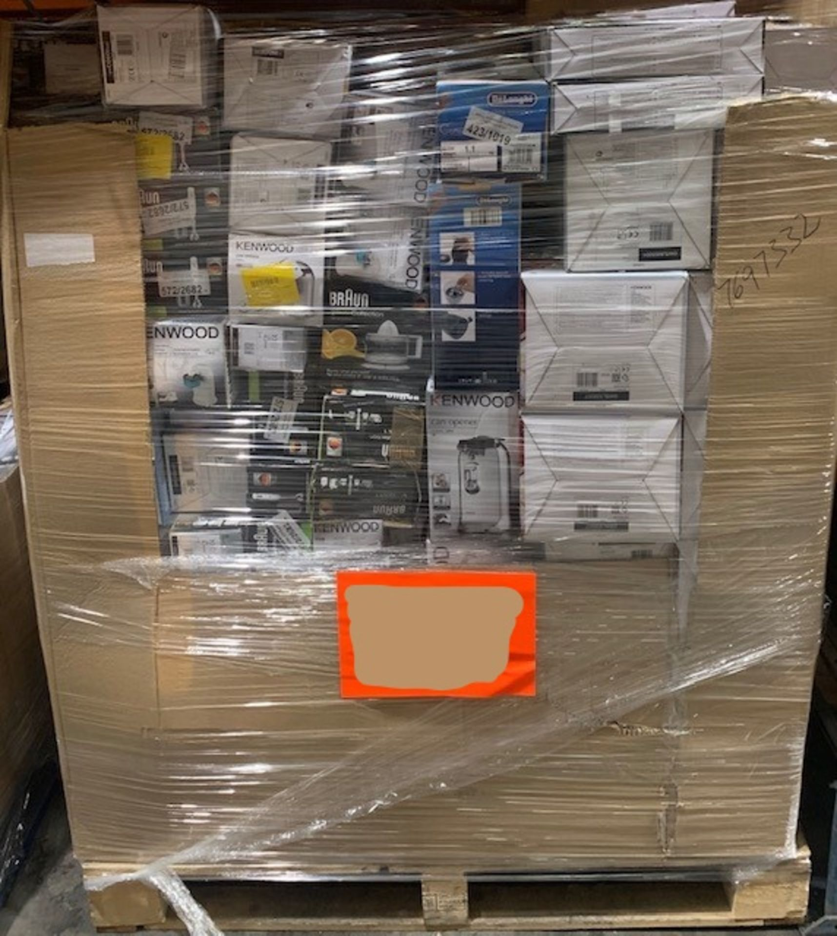 Lot 2 - 1 Mixed Pallet containing 225 items including Kenwood, Delonghi & Braun stock. Approx RRP £4,699.28