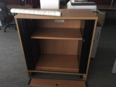 4 x Low Wooden Storage units with metal doors