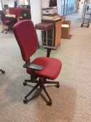 40 x Burgundy Swivel Desk Chairs on wheels.