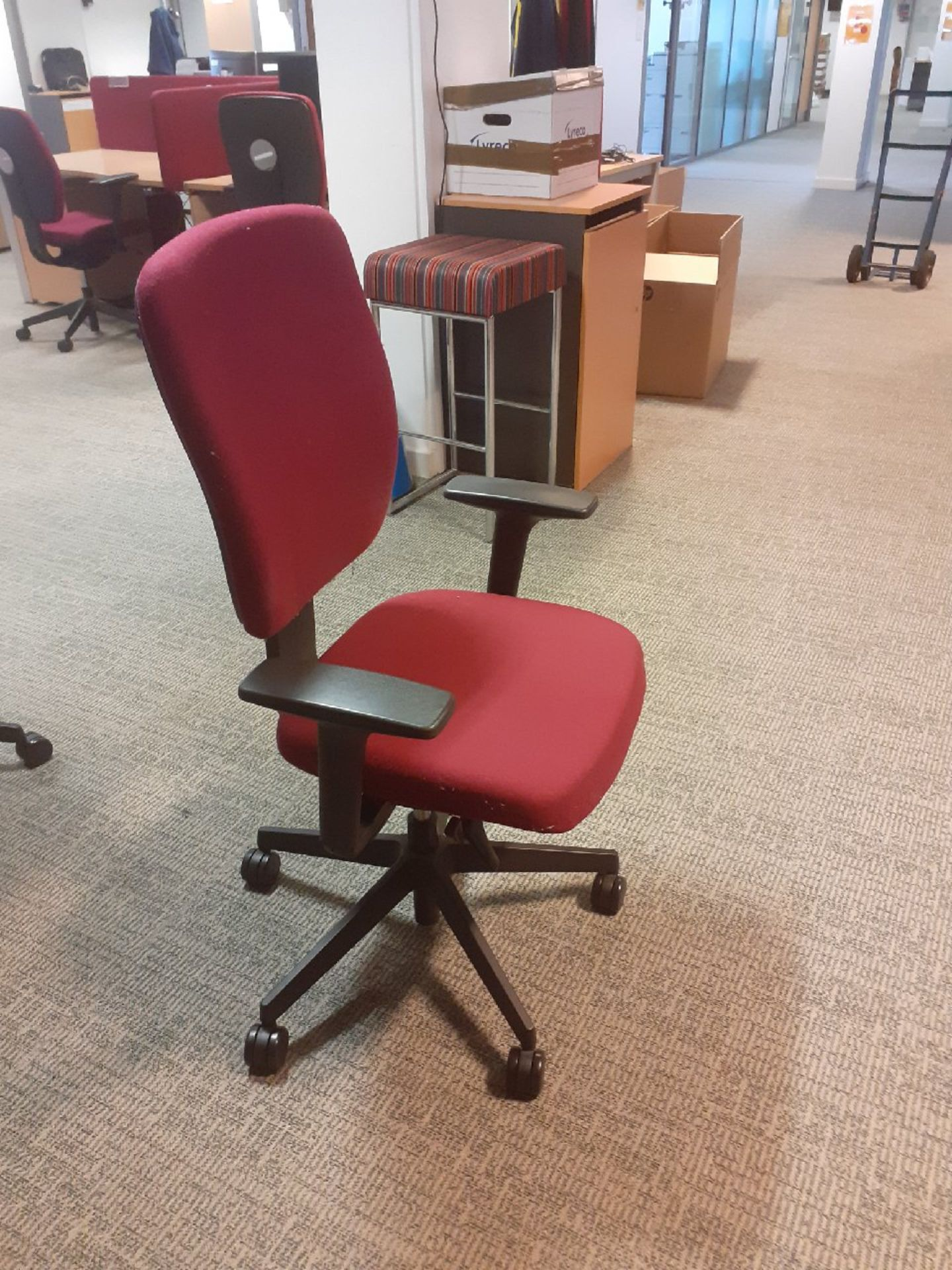 40 x Burgundy Swivel Desk Chairs on wheels.