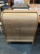 1 BESPOKE DESIGNER DESK WITH SHUTTER TOP IN NATURAL (PUBLIC VIEWING AVAILABLE)