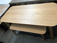 1 BESPOKE DESIGNER WOODEN DINING TABLE WITH 1 MATCHING BENCH IN NATURAL - MINOR SCUFFS (PUBLIC