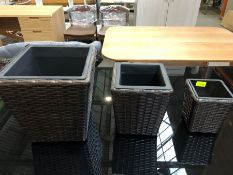 1 SET OF 3 BESPOKE DESIGNER RATTAN PLANTERS IN BLACK/BROWN (PUBLIC VIEWING AVAILABLE)