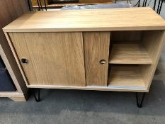 1 BESPOKE DESIGNER SIDEBOARD - OAK EFFECT (PUBLIC VIEWING AVAILABLE)