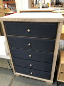1 BESPOKE DESIGNER 5 DRAWER CHEST IN GREY/NATURAL (PUBLIC VIEWING AVAILABLE)