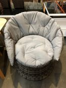 1 BESPOKE DESIGNER OUTDOOR RATTAN SEAT IN GREY (PUBLIC VIEWING AVAILABLE)