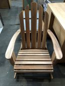 1 BESPOKE DESIGNER OUTDOOR WOODEN ROCKING CHAIR IN NATURAL (PUBLIC VIEWING AVAILABLE)