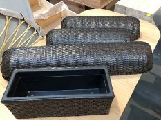 1 SET OF 4 BESPOKE DESIGNER RATTAN PLANTERS IN BROWN/BLACK (PUBLIC VIEWING AVAILABLE)