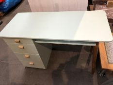 1 BESPOKE DESIGNER WOODEN DESK IN SOFT GREEN (PUBLIC VIEWING AVAILABLE)
