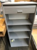 1 BESPOKE DESIGNER SHELVING UNIT WITH SLIDING SHUTTER IN SILVER (PUBLIC VIEWING AVAILABLE)