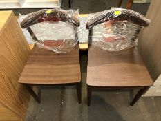 1 SET OF 2 BESPOKE DESIGNER DINING CHAIRS IN MAHOGANY (PUBLIC VIEWING AVAILABLE)