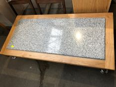 1 BESPOKE DESIGNER COFFEE TABLE WITH WOODEN SURROUND AND GRANITE CENTER IN GREY/NATURAL (PUBLIC