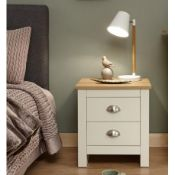 1 BOXED LANCASTER 2 DRAW BEDSIDE IN CREAM (PUBLIC VIEWING AVAILABLE)