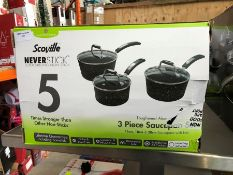 1 BOXED SCOVILLE 3PC SAUCEPAN SET PUBLIC VIEWING AVAILABLE & HIGHLY RECOMMENDED - IMAGES ARE FOR