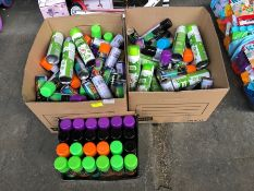 1 LOT TO CONTAIN 3 BOXES OF HALLOWEEN WINDOW SPRAY AND SLIME SHOWER GEL PUBLIC VIEWING AVAILABLE &