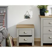 1 BOXED LANCASTER 2 DRAWER BEDSIDE IN GREY OAK (PUBLIC VIEWING AVAILABLE)