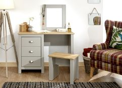 1 BOXED LANCASTER DRESSING TABLE AND STOOL IN GREY (PUBLIC VIEWING AVAILABLE)