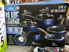 1 BOXED BLUE DIAMOND 5PC COOKING SET PUBLIC VIEWING AVAILABLE & HIGHLY RECOMMENDED - IMAGES ARE