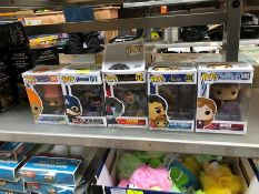 1 LOT TO CONTAIN 5 X MIXED POP VINYL TOYS PUBLIC VIEWING AVAILABLE & HIGHLY RECOMMENDED - IMAGES ARE