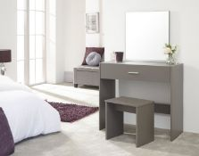 1 BOXED JULIA DRESSING TABLE AND STOOL IN GREY (PUBLIC VIEWING AVAILABLE)