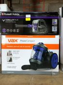 1 RUSSELL HOBBS TURBO LITE PLUS AND 1 VAX POWER COMPACT PUBLIC VIEWING AVAILABLE & HIGHLY