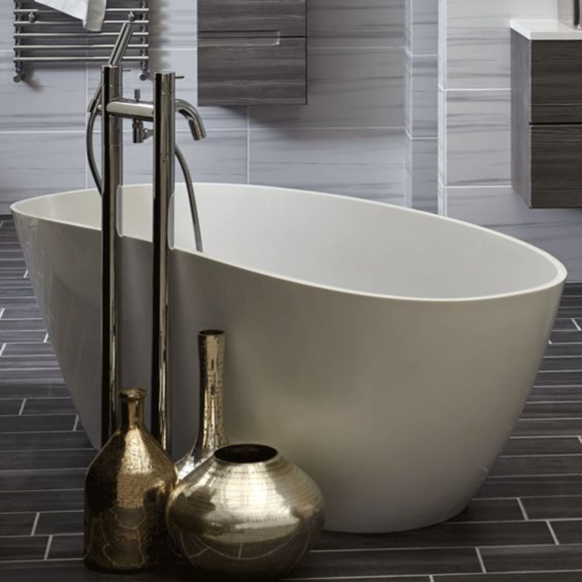 Lot 1 - 1670 X 690MM BAYOU SOLID STONE RESIN 'TOUCHSTONE' LUXURY FREESTANDING BATH WITH INTEGRATED OVERFLOW