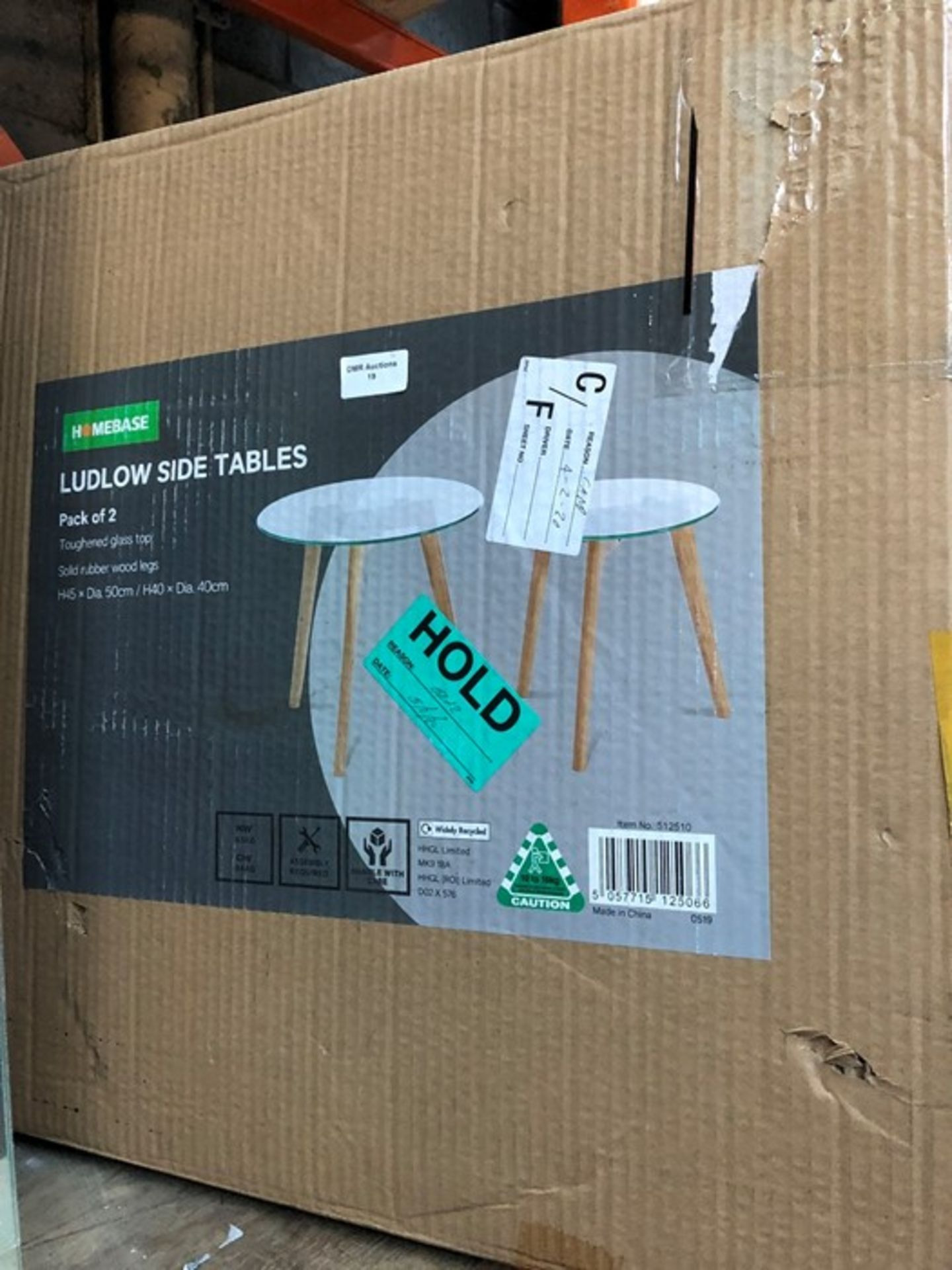 Lot 19 - PACK OF 2 X LUDLOW GLASS TOP SIDE TABLES