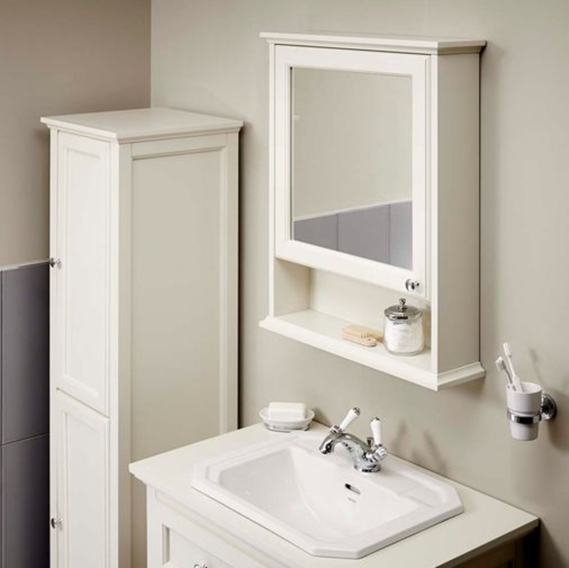 Lot 31 - SAVOY 570MM TRADITIONAL MIRROR CABINET WITH OPEN SHELF, SOFT CLOSE DOOR AND CHROME BUTTOM HANDLE.