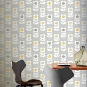 1 LOT TO CONTAIN 9 ROLLS OF ARTHOUSE RETRO FLORAL FLOWER GREY/YELLOW WALLPAPER - 901907 / RRP £80.