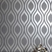 1 LOT TO CONTAIN 5 AS NEW ROLLS OF ARTHOUSE LUXE OGEE GUNMETAL SILVER WALLPAPER - 910202 / RRP £64.