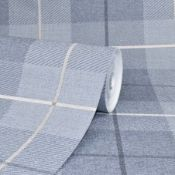 1 LOT TO CONTAIN 6 AS NEW ROLLS OF ARTHOUSE COUNTRY TARTAN DENIM BLUE WALLPAPER - 294902 / RRP £