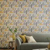 1 LOT TO CONTAIN 12 AS NEW ROLLS OF ARTHOUSE MALMO RETRO LEAF ORCHE/GREY WALLPAPER - 902300 / RRP £