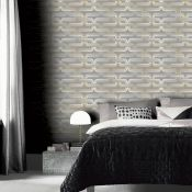 1 LOT TO CONTAIN 12 AS NEW ROLLS OF ARTHOUSE LINK WALLPAPER IN GREY/YELLOW - 902405 / RRP £107.88