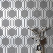 1 LOT TO CONTAIN 12 AS NEW ROLLS OF ARTHOUSE LUXE HEXAGON GUNMETAL AND SILVER WALLPAPER - 906601 /