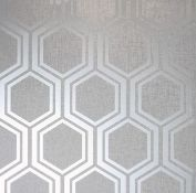 1 LOT TO CONTAIN 12 AS NEW ROLLS OF ARTHOUSE LUXE HEXAGON SILVER WALLPAPER - 910206 / RRP £155.88