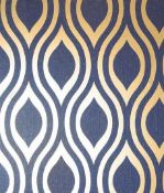 1 LOT TO CONTAIN 8 AS NEW ROLLS OF ARTHOUSE LUXE OGEE NAVY GOLD WALLPAPER - 910203 / RRP £103.92