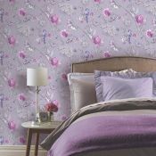 1 LOT TO CONTAIN 3 AS NEW ROLLS ARTHOUSE PARADISE GARDEN GLITTER WALLPAPER IN LILAC - 692404 /