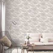 1 LOT TO CONTAIN 15 ROLLS OF ARTHOUSE DIAMOND BRICK GLITTER TAUPE WALLPAPER - 669402 / RRP £194.85