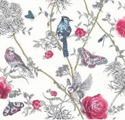 1 LOT TO CONTAIN 4 AS NEW ROLLS OF ARTHOUSE PARADISE GARDEN WHITE/MULTI GLITTER WALLPAPER - 692405 /