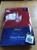 1 SILENT NIGHT FLANNELETTE FITTED SHEET - RED / SIZE: SINGLE