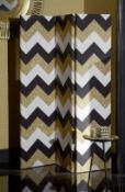 1 BOXED ARTHOUSE GLIITER CHEVRON ROOM DIVIDER / SIZE: 120 X 150CM (SOLD AS SEEN)