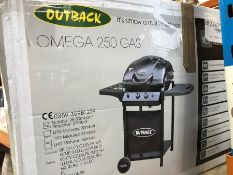 1 BOXED OUTBACK OMEGA 250 GAS HOODED BBQ WITH SIDE BURNER / RRP £179.99 (SOLD AS SEEN)