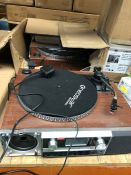 1 LOT TO CONTAIN 2 UNTESTED NEOSTAR TURNTABLES, CASSETTE AND RADIO PLAYER (SOLD AS SEEN)