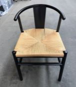 1 LA REDOUTE KRISTI SCANDI-STYLE BIRCH CHAIR WITH WOVEN SEAT / RRP £215 (SOLD AS SEEN)
