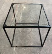 1 LA REDOUTE SYBIL GLASS TOP SIDE TABLE (SOLD AS SEEN)