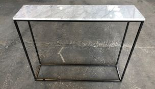 1 LA REDOUTE MAHAUT MARBLE AND STEEL CONSOLE TABLE - WHITE MARBLE (SOLD AS SEEN)