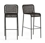 LA REDOUTE SET OF 2 SAPHIR BRAIDED ROPE GARDEN HIGH CHAIRS