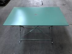 1 LA REDOUTE OZEVAN RECTANGULAR METAL FOLDING TABLE IN GREEN EUCALYPTUS / DINTED (SOLD AS SEEN)