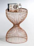 LA REDOUTE JANIK WIRE CADGE BEDSIDE TABLE - COPPER